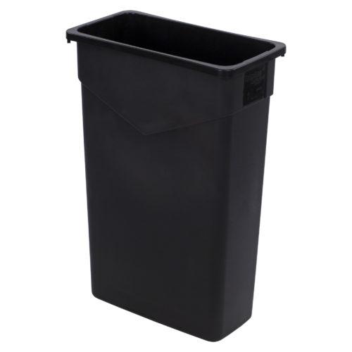 23 Gallon Black Slim Rectangular Trash Can, Carlisle 34202303