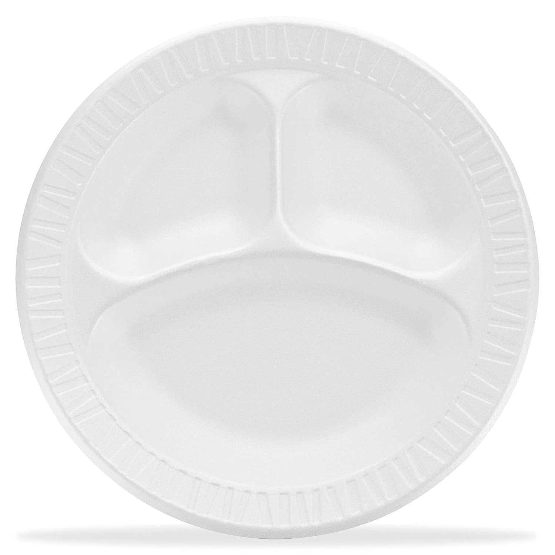 """9"""" 3-Compartment White Foam Plate, Dart 9CPWCR - Case"""
