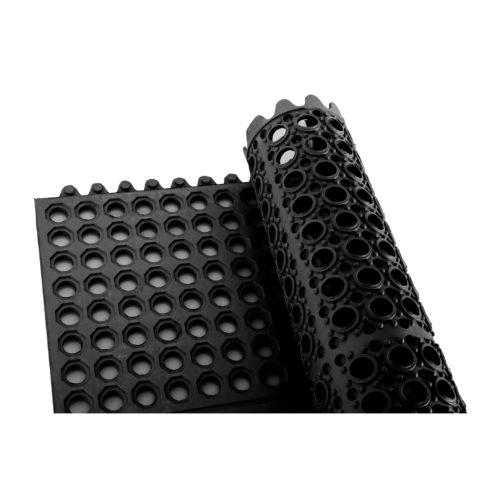3' x 3' Black Rubber Floor Mat, Winco RBMI-33K